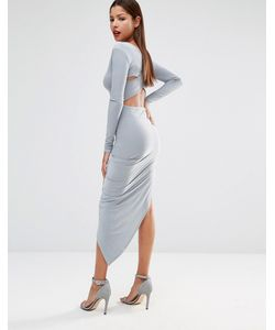 Club L | Slinky Cross Back Detail Dress With Asymmetric Skirt