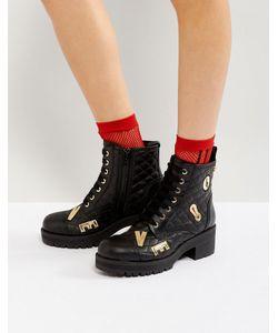 Love Moschino | Стеганые Ботинки На Шнуровке