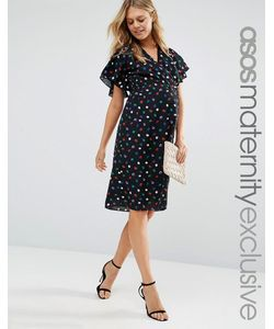 ASOS Maternity   Чайное Платье Миди Для Беременных С Узором В Горошек И Запахом