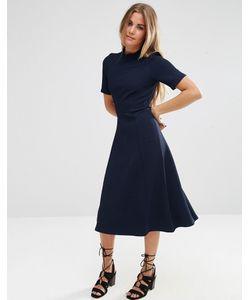 Asos | Фактурное Платье Миди С Высоким Воротом Темно-Синий