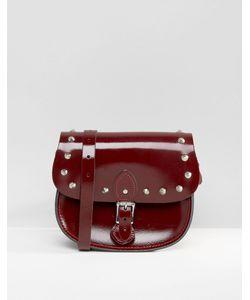 Leather Satchel Company | Сумка С Заклепками The Глянцевый Темно-Бордовый