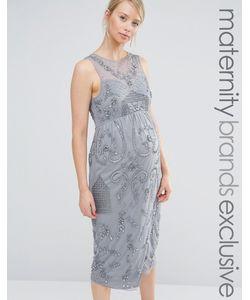 Maya Maternity | Декорированное Платье Миди Для Беременных С Запахом На Юбке