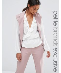 Alter Petite | Sleeveless Longline Soft Pyjama Blazer With Contrast Piping
