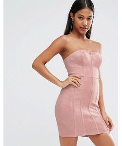 NaaNaa   Облегающее Платье Бандо В Замшевом Стиле С Ажурной Отделкой