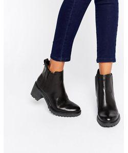 Timberland | Черные Кожаные Ботинки Челси Черный Гладкий
