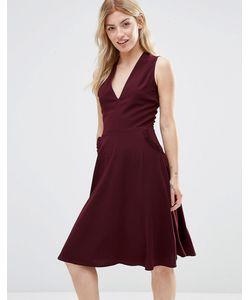 Alter | Платье С Отделкой Рюшами На Карманах Burgandy