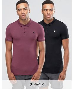 Asos | 2 Pack Muscle Polo Shirt In Conker And Black