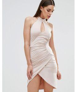 Sistaglam | Платье-Футляр С Вырезом Капелькой И Перекрестной Отделкой Белый