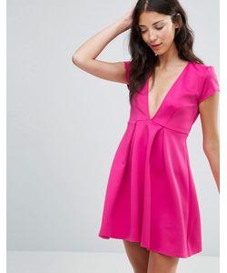 Twin Sister   Короткое Приталенное Платье С Глубоким Вырезом Розовый