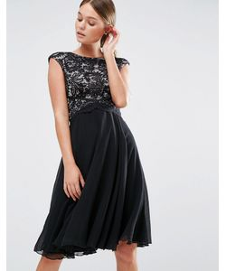 Elise Ryan | Приталенное Платье Миди С Кружевным Топом Черный