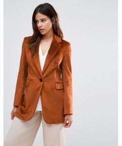 Helene Berman | Longline Blazer In Textured Burnt Copper Жженая Охра