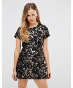 Motel   Жаккардовое Платье С Цветочным Узором Cheeky Bronze