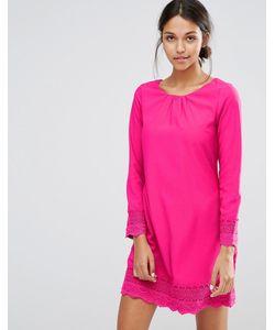 Uttam Boutique | Цельнокройное Платье С Длинными Рукавами И Ажурной Отделкой