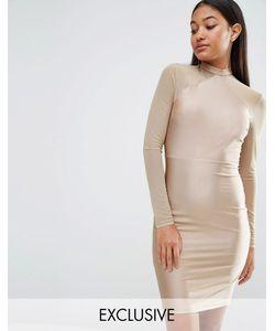 NaaNaa | Облегающее Платье С Сетчатыми Рукавами Серо-Коричневый
