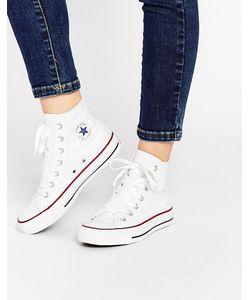 Converse | Высокие Белые Кроссовки All Star Белая Холщовая Ткань