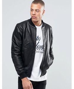 !Solid | Кожаная Куртка-Пилот Черный