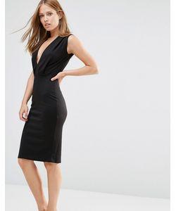 Alter | Платье-Футляр Длины Миди С V-Образным Вырезом Черный