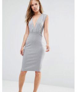 Alter | Платье-Футляр Длины Миди С V-Образным Вырезом Светло-Серый