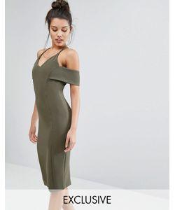 Vesper | Платье-Футляр На Бретельках С Открытыми Плечами Хаки