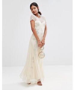 boohoo | Платье Макси С Декоративной Цветочной Отделкой Boutique Кремовый