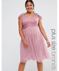 Little Mistress Plus | Платье Миди С Открытыми Плечами И Отделкой