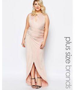 Forever Unique Plus | Платье Макси Со Сборками И Запахом Спереди