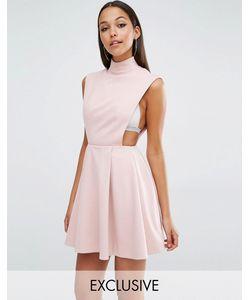 AQ AQ | Платье Мини С Высоким Воротом Aqaq Sorah Приглушенный Розовый