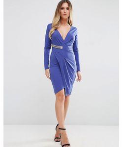 Jessica Wright | Платье С Длинными Рукавами И Запахом С Золотистой Пряжкой