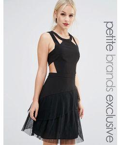 True Decadence Petite | Приталенное Платье С Оборками И Ремешками Черный