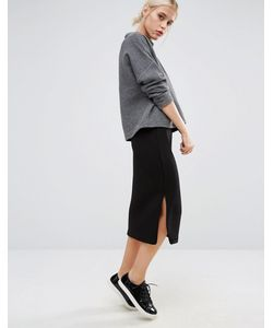 Monki | Grid Textured Jersey Midi Skirt Черный