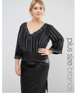 Lovedrobe Luxe | Kimono Sleeve Plunge Front All Over Embellished Body