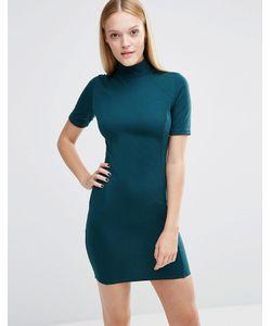 AX Paris   Облегающее Платье С Высокой Горловиной Сине-Зеленый