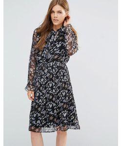 Yumi | Плиссированное Платье С Длинными Рукавами С Оборками Черный