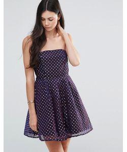 Pixie & Diamond | Приталенное Платье-Бандо В Горошек Purple Dot