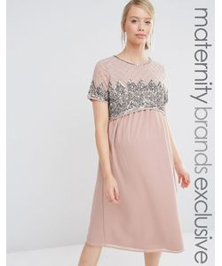 Maya Maternity | Двухслойное Платье Миди С Отделкой На Лифе Фиолетовый