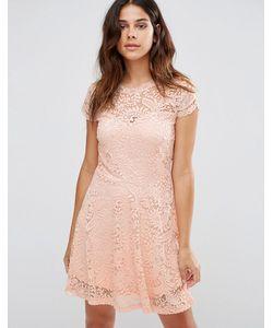 Vero Moda | Кружевное Платье Мини Розовая Пыль