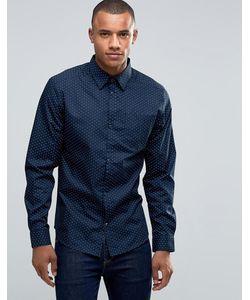 D-Struct   Рубашка С Мелким Принтом Темно-Синий