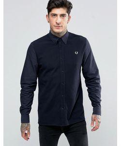 Fred Perry | Темно-Синяя Рубашка Слим С Контрастной Отделкой Спереди Темно-Синий