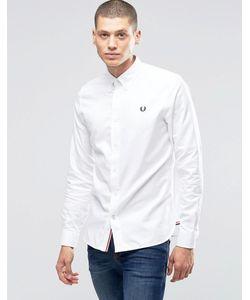 Fred Perry | Белая Оксфордская Рубашка Слим С Логотипом Белый