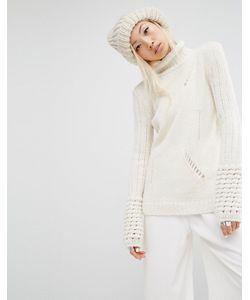 Oneon | Джемпер-Водолазка С Отделкой Лесенка Hand Белый