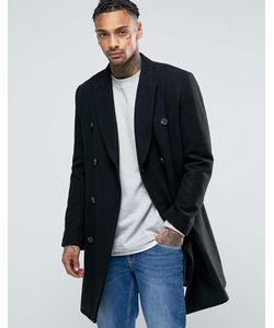 Asos | Полушерстяное Черное Двубортное Пальто Черный