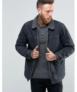 Asos | Черная Выбеленная Джинсовая Куртка С Воротником Борг Черный