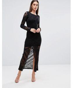 TFNC   Кружевное Платье Макси С Разрезом Спереди Черный