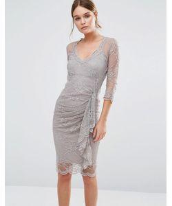 Body Frock | Кружевное Моделирующее Платье С Оборкой Fifi Серо-Коричневый