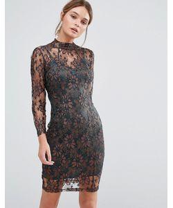 Body Frock | Облегающее Кружевное Платье Цвета Металлик Leah Bronze