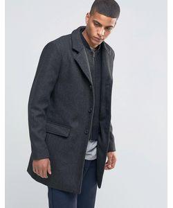 Selected Homme | Пальто В Елочку Со Съемной Подкладкой Черный
