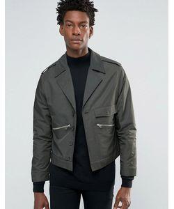 Asos | Атласная Куртка Хаки В Стиле Милитари Хаки