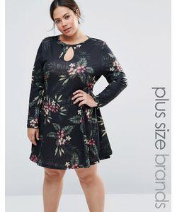 NVME | Свободное Трикотажное Платье С Вырезом Капелькой Черный Цветочный