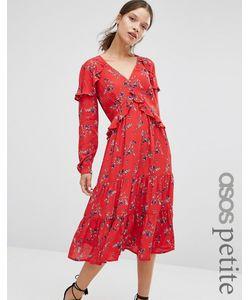 ASOS PETITE | Платье Миди С Vобразным Вырезом Рюшами И Винтажным Цветочным Принтом Asos