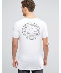 Asos | Удлиненная Облегающая Футболка С Принтом Белый